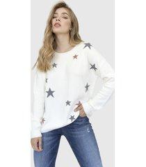 sweater cuello redondo estrellas astrid crudo racaventura