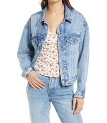 women's reformation madison relaxed jean jacket, size medium - blue