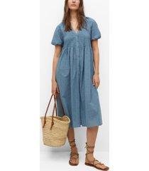 mango textured cotton-blend dress