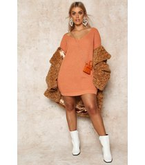plus v-neck sweater mini dress, apricot