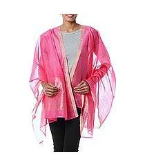cotton and silk shawl, 'rose radiance' (india)