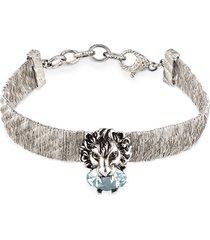 gucci lion head bracelet - silver