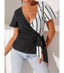 yoins negro cruzado diseño deep v cuello blusa de manga corta