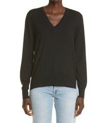 partow franca v-neck wool sweater, size medium in black at nordstrom