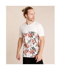 camiseta masculina estampada floral com recorte manga curta gola careca branca