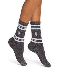 women's alexander mcqueen stripe skull metallic socks