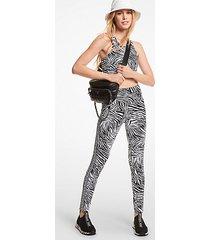 mk leggings in nylon stretch con stampa zebrata e fettuccia con logo - bianco/nero (bianco) - michael kors