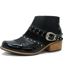 botin cuero texano negro amano shoes