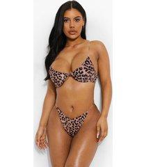 luipaardprint bikini top met beugel en transparante bandjes, leopard