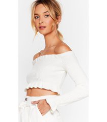 womens take it off-the-shoulder knit crop top - cream