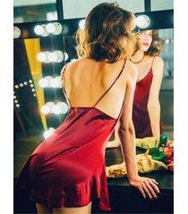camisón sin espalda grande pijama sexy-rojo