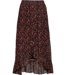 skirt in seeds print w. tie and ruf knälång kjol brun coster copenhagen