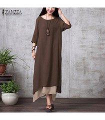 zanzea mujeres de manga larga asimétrica de doble capa vestir la camisa del partido del vestido étnico plus -café