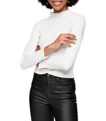 topshop ribbed funnel neck cotton top, size 14 us in ivory at nordstrom