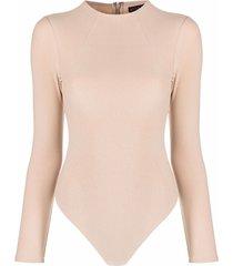 alice+olivia crew-neck bodysuit - neutrals