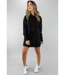 vestido rb moda camisão manga longa moletinho preto