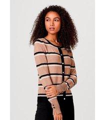 casaco hering listrado tricô fio tinto elastano feminino - feminino
