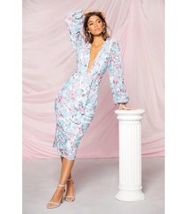 boohoo occasion sequin puff sleeve midi dress, blue