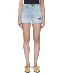 light wash patch work denim shorts