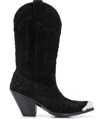 paul warmer metallic heel suede boots - black