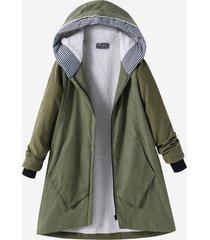 casual cappotto con cappuccio con tasche in colore a tinta unita