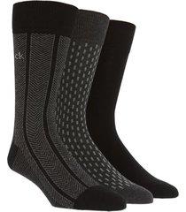 men's calvin klein 3-pack cotton blend socks, size one size - black