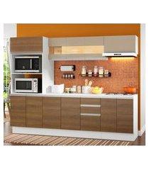 cozinha completa 100% mdf madesa smart 250 cm modulada com balcáo e tampo branco