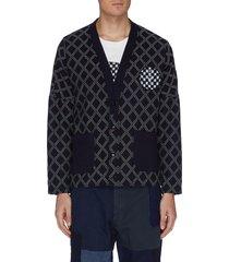 kasuri patch diamond print drop shoulder cardigan
