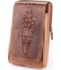 borsa in pelle da uomo da 6 pollici in vera pelle vintage per uomo