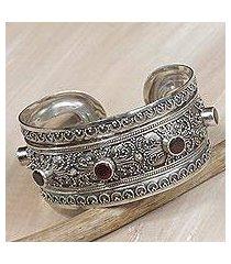garnet cuff bracelet, 'uluwatu altar' (indonesia)