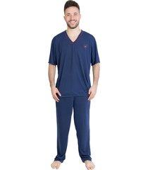 pijama linha noite manga azul marinho