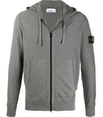 stone island logo patch ribbed detail hoodie - grey
