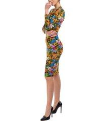vestito abito donna corto miniabito manica lunga tropical baroque