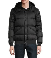 armani jeans men's down puffer hooded jacket - black - size s