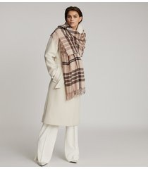 reiss steph - wool checked scarf in natural, womens
