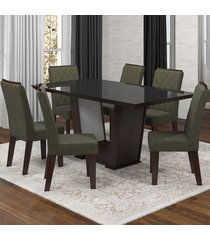 mesa de jantar 6 lugares condessa nogueira/camurça/preto - viero móveis