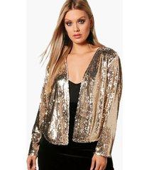 plus power shoulder waterfall sequin jacket, silver