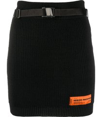 heron preston ribbed knit bodycon mini skirt - black