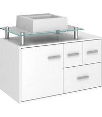 gabinete para banheiro em mdf napoli 80cm branco