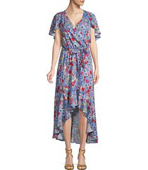 floral wrap hi-lo dress