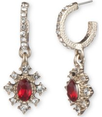 marchesa gold-tone stone & crystal dangle drop earrings