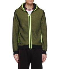 mesh overlay zip hoodie