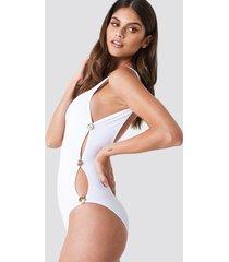 trendyol button detailed swimsuit - white