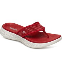 womens on-the-go 600 shoes summer shoes flat sandals röd skechers