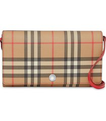 burberry vintage check wallet with detachable strap - neutrals