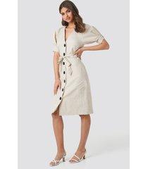 na-kd classic linen blend buttoned dress - beige