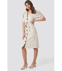 na-kd classic linen blend buttoned dress - beige