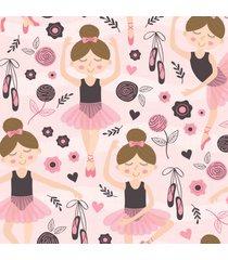 papel de parede bailarina rosa p/ quarto de menina 57x270cm - multicolorido - dafiti