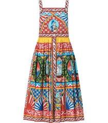 carretto-print poplin calf-length dress
