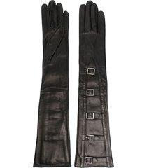 manokhi buckle-fastening leather gloves - gold